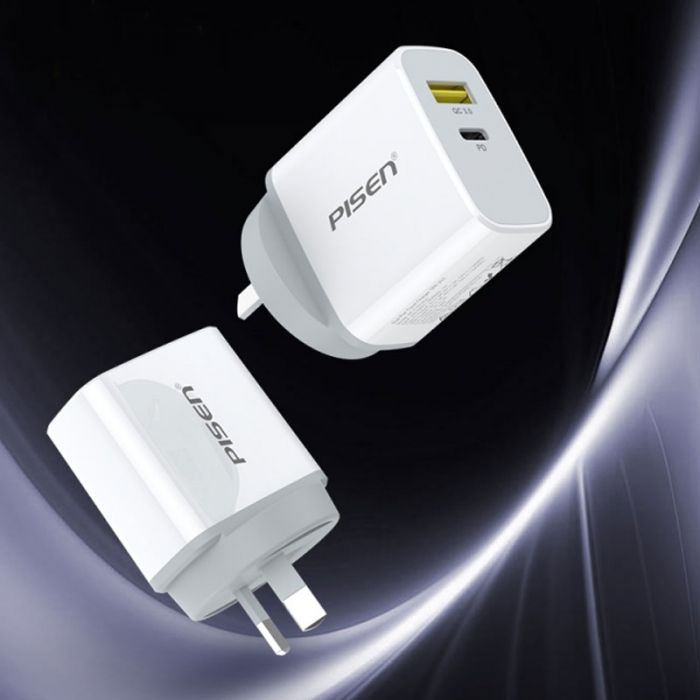 PISEN Dual Port Travel Charger 18W (Type A and C Ports)