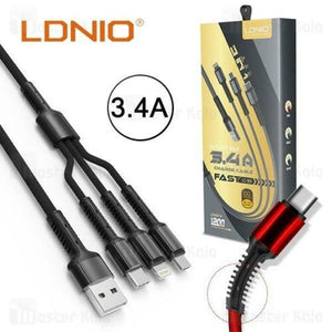 LDNIO Fast Charging 3 In 1 Cable (USB Micro, Type-C, Lightning)