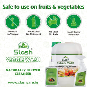 Slash® Veggie Wash - Naturally Derived Fruit & Vegetable Cleanser (Pack of 3 x 500 ML + Spray)