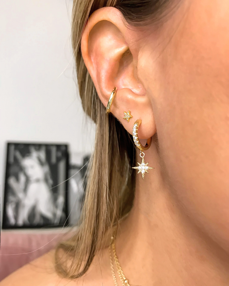 STARDUST - 'NORTH STAR' Earrings in 14k Gold