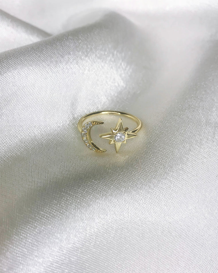 STARDUST - 'MOON&STAR' Ring in 14k Gold
