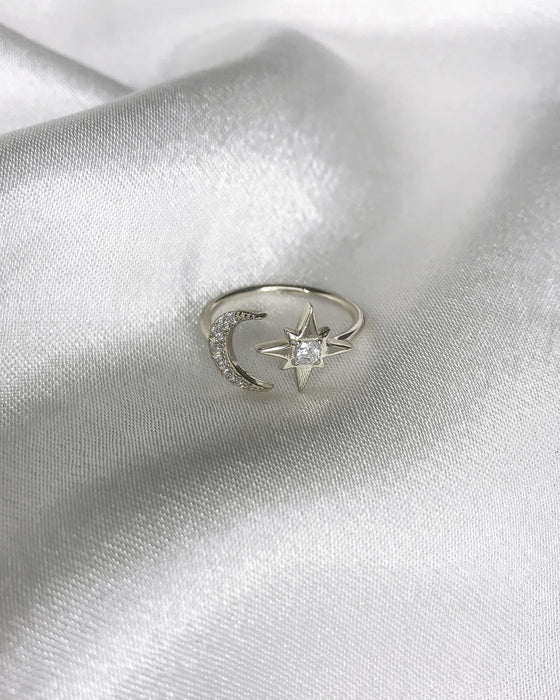 STARDUST - 'MOON&STAR' Ring in Silver