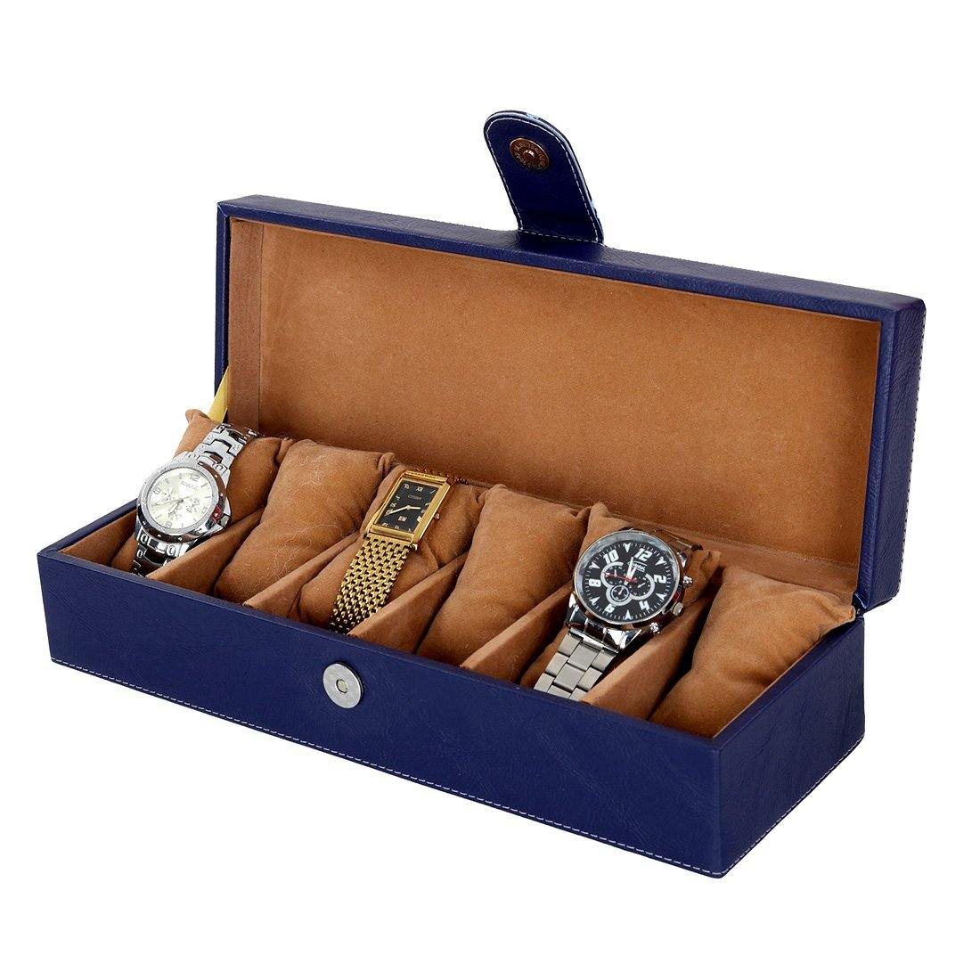 Leather World Unisex 6 Slots Watch Organiser Box - Leatherworldonline.net