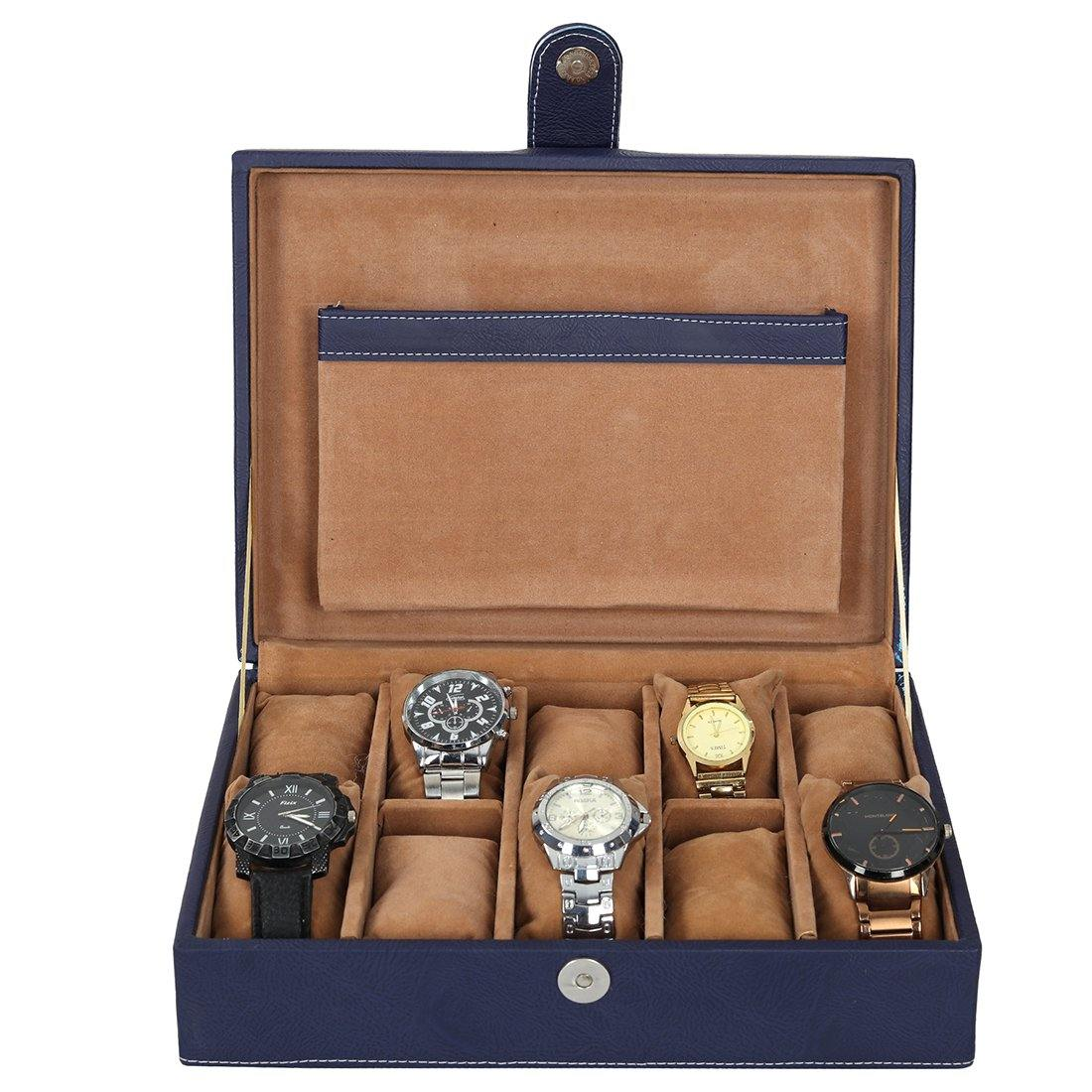 Leather World PU Leather Watch Box | 10 Slots