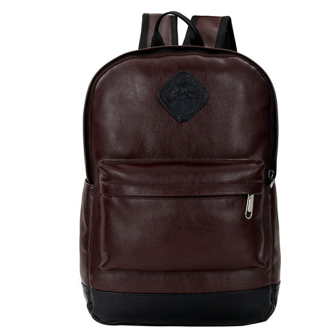 Leather World Brown PU Leather Backpack Business Backpack College School Book bagTravel Backpack for 15.6 Laptop