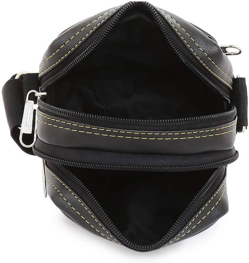 Leather World Black PU Leather Small Travel Sling Bag for Men and Women