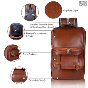Leather World Premium PU Leather Laptop Backpack