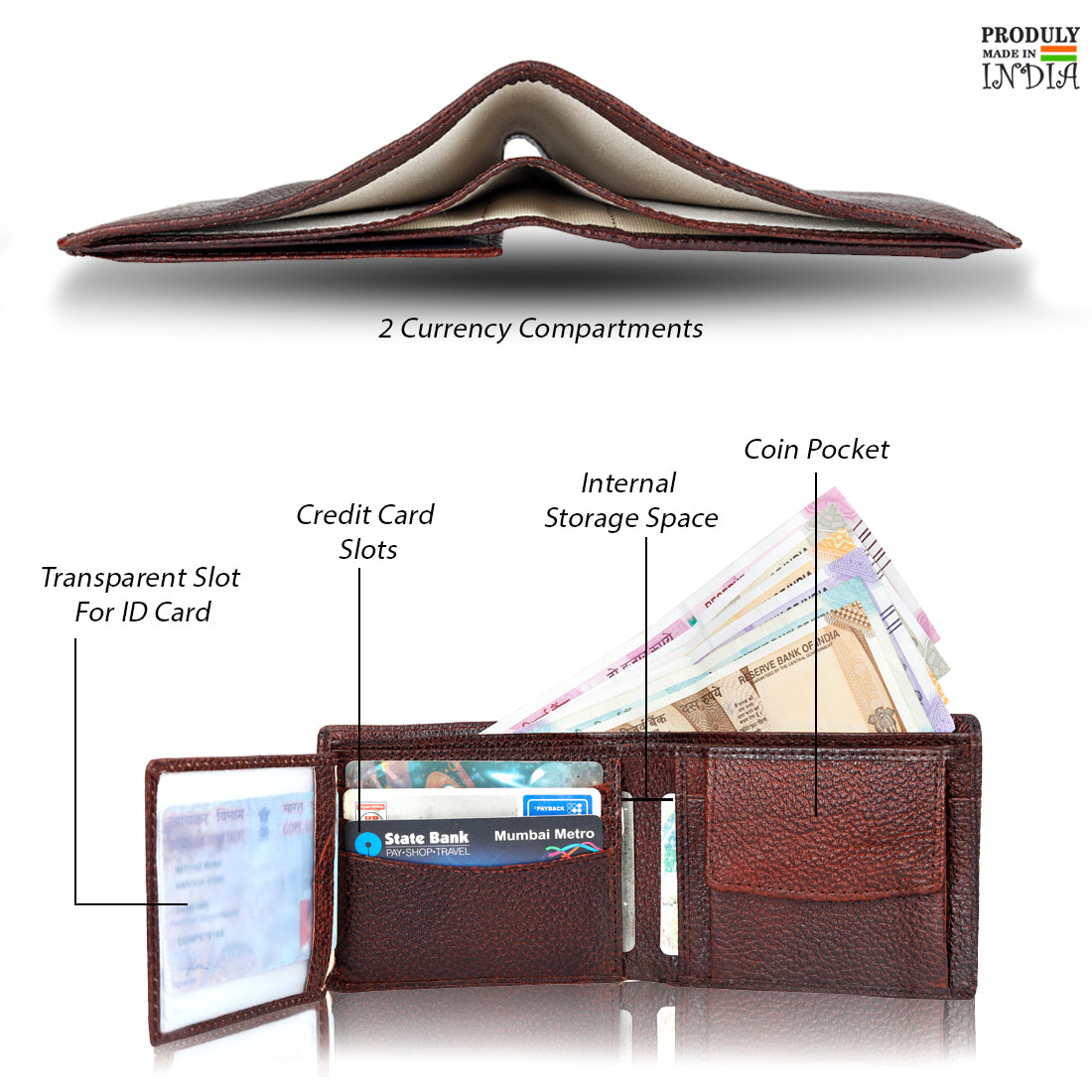 Leather World Genuine Leather Wallet with Two Fold Card Case