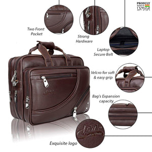 Leather World Designer PU Leather Laptop/Office Bag