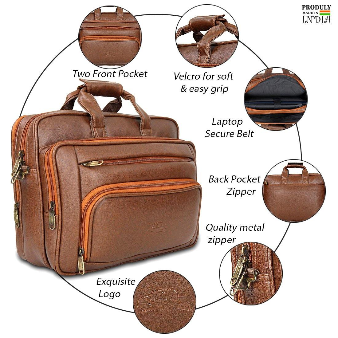 Leather World Expandable PU Leather Laptop/Office Bag