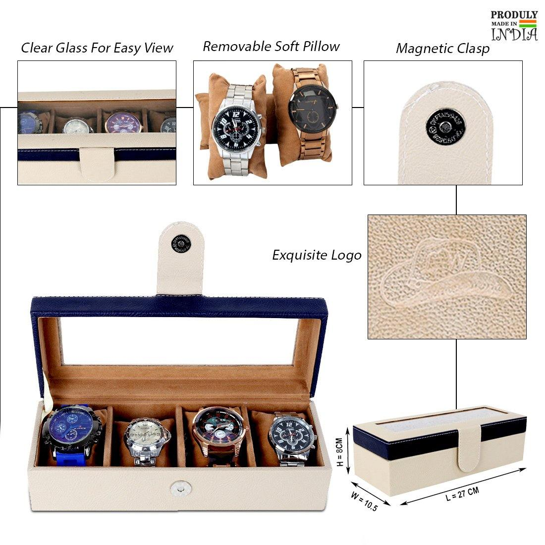 Leather World Leatherette Watch Box | 4 slots | Imported Acrylic