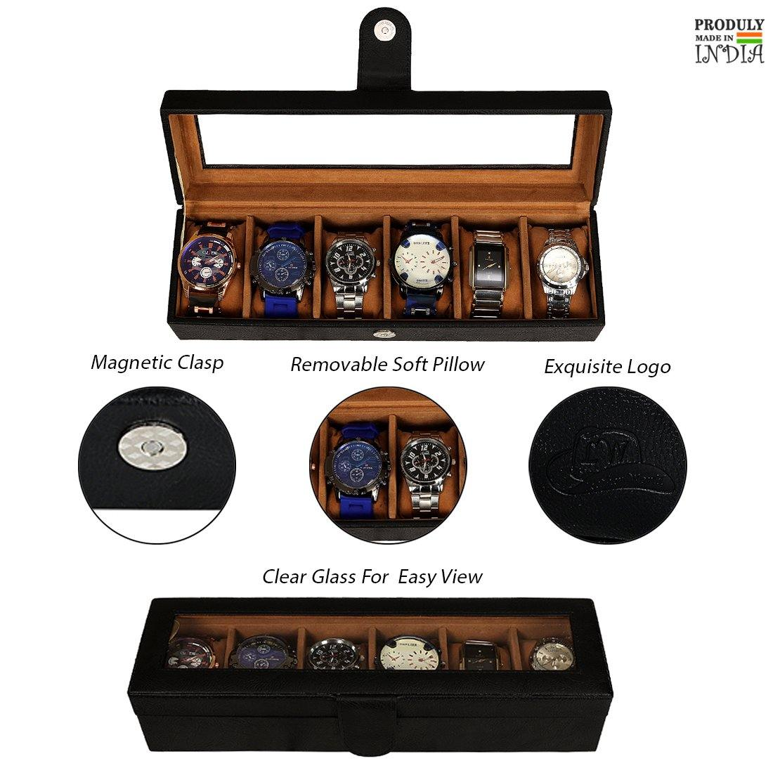 Leather World PU Leather Watch Box | 6 Slots