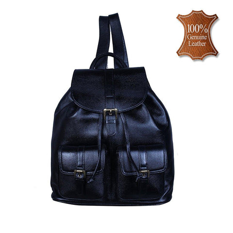 Leather World Genuine Leather Casual Women Backpack - Black - #BP3009