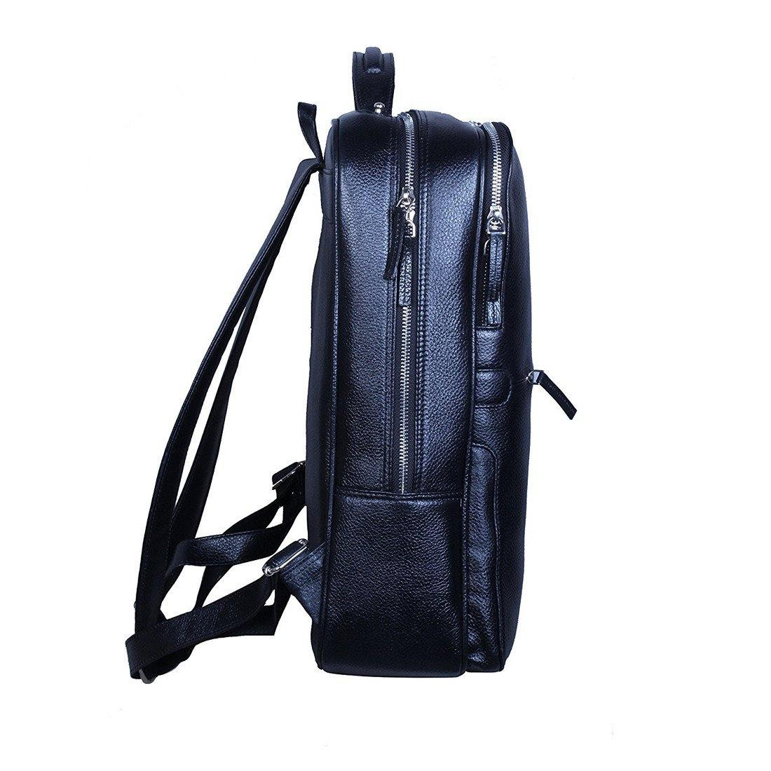 Leather World Unisex Black Genuine Leather Backpack - Leatherworldonline.net