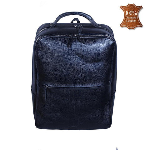 Leather World   Black Genuine Leather Backpacks Bag for men and women - #BP3022