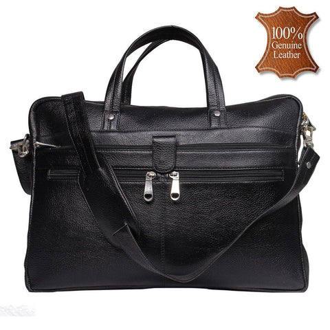 Leather World 8.5 Liter Black Genuine Leather Designer Laptop with Zip Closure Travel Bag OB1001