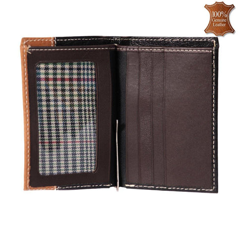 Leather World Trendy Black & Tan Color Genuine Leather Bi Fold Money Clip Wallet For Men - #MC9001