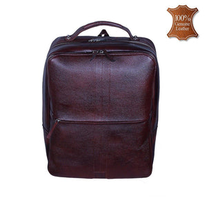 Leather World Unisex Brown Genuine Leather Backpack