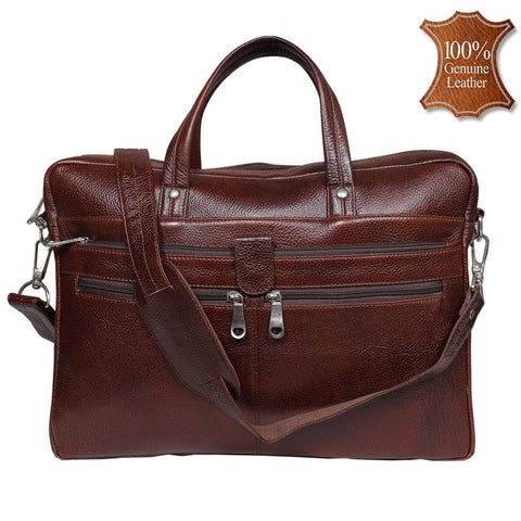 Leather World 8.5 Liter Brown Genuine Leather Designer Laptop with Zip Closure Travel Bag