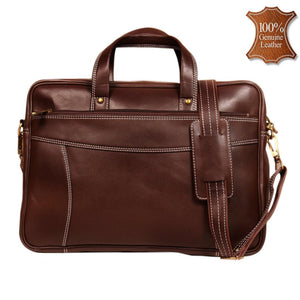 Leather World 9 Liter Brown Genuine Leather Designer Laptop with Zip Closure Travel Bag OB1040