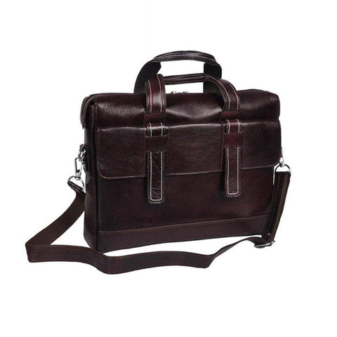 Leather World Genuine Leather 16.5 inch 7 Liter Laptop Office Bag for Men - Brown- #OB1056