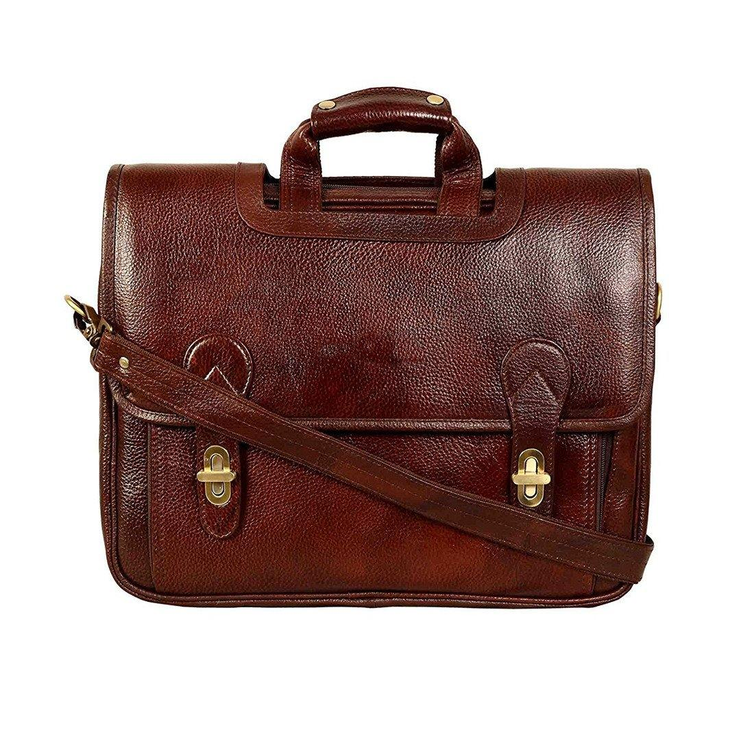 Leather World Genuine Leather Laptop Portfolio Bag 16 inch Brown 7 Liter Laptop / Tablets / Macbook - #OB1068