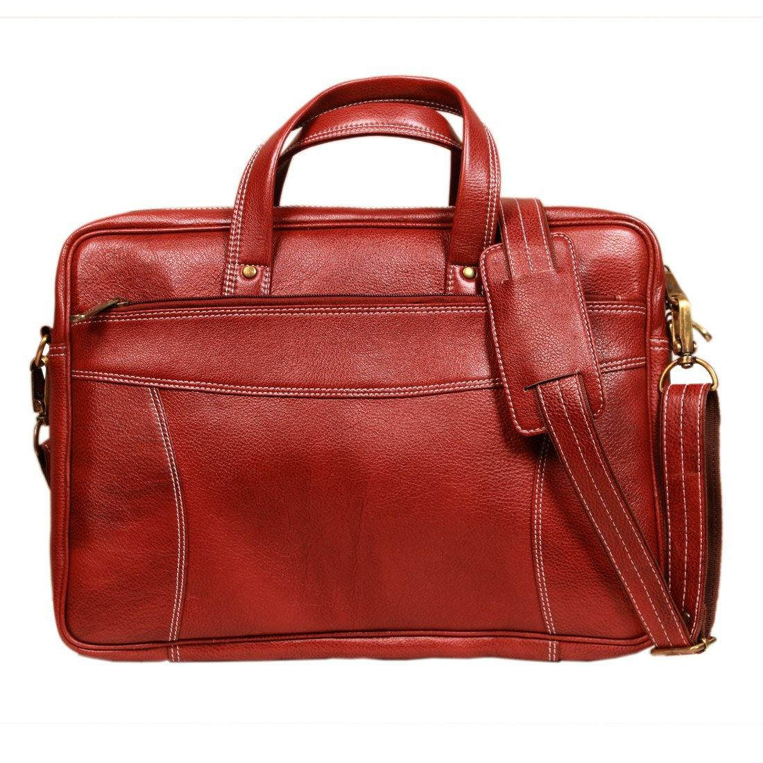 Leather World Maroon 15.6 inch Laptop Messenger Bag For Men and Women (Guaranteed Genuine Leather) - #OB1039