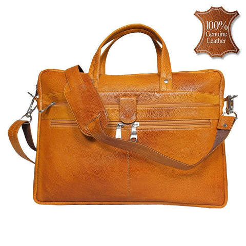 Leather World 8.5 Liter Rust Genuine Leather Designer Laptop with Zip Closure Travel Bag OB1002