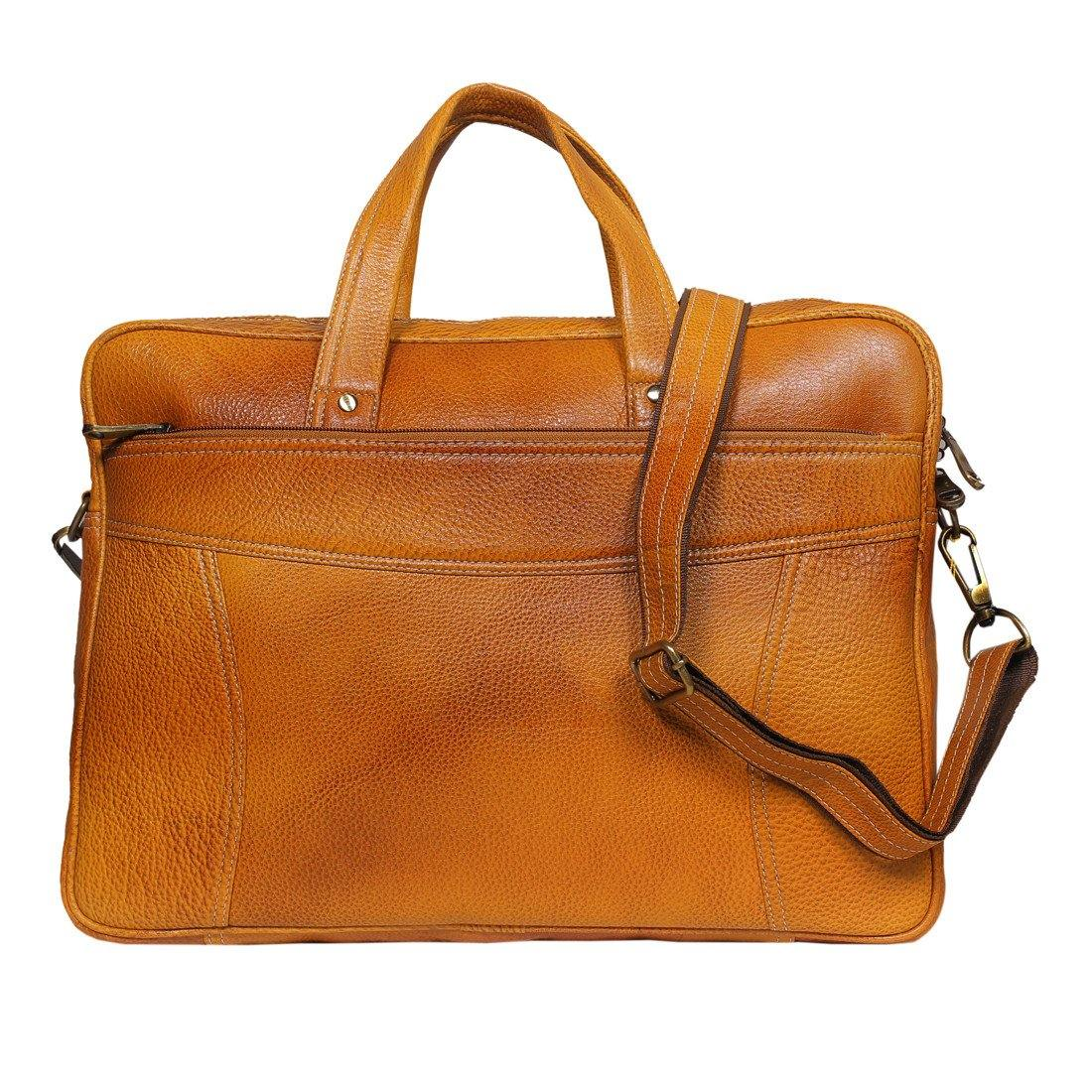 Leather World 9 Liter Rust Genuine Leather Designer Laptop with Zip Closure Travel Bag OB1008