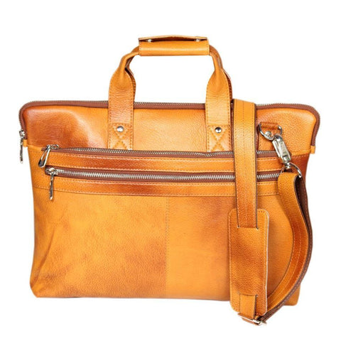 Leather World  Classic Rust Mango Color Genuine Leather Laptop Sleeve Office Bag With pen Slot and mobile Compartment - #OB1031
