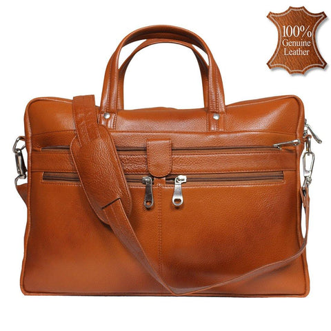 Leather World 8.5 Liter Tan Genuine Leather Designer Laptop with Zip Closure Travel Bag OB1004