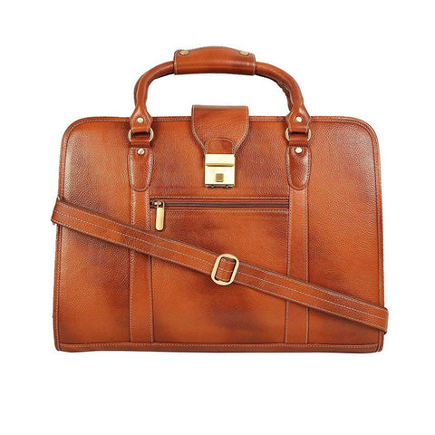 "Leather World Genuine Leather Laptop Portfolio Bag 16.5"" Tan 7 Liter Tablets / Macbook #OB1063"