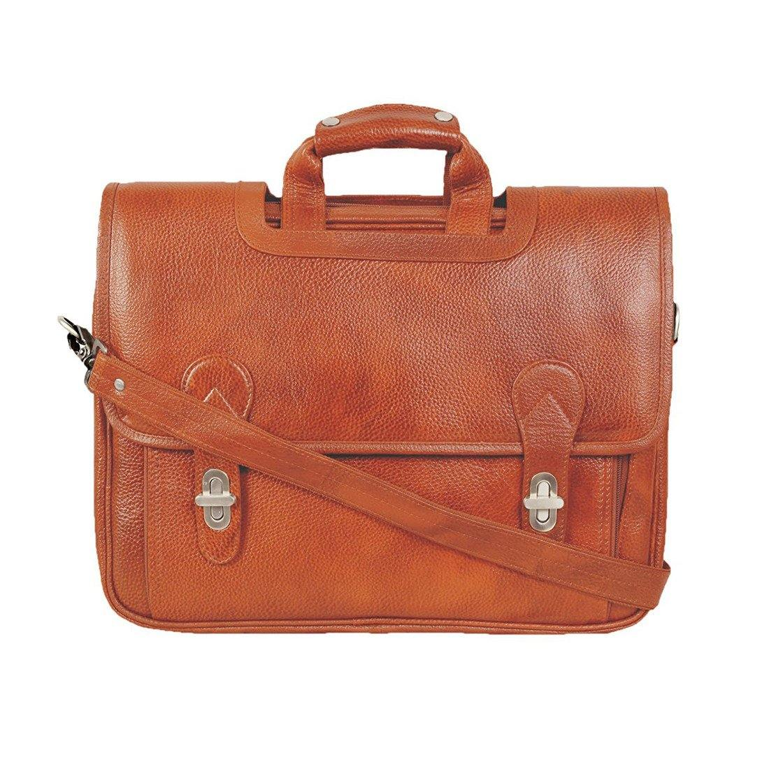 Leather World Genuine Leather Laptop Portfolio Bag 16 inch Tan 7 Liter Tablets / Macbook - #OB1069