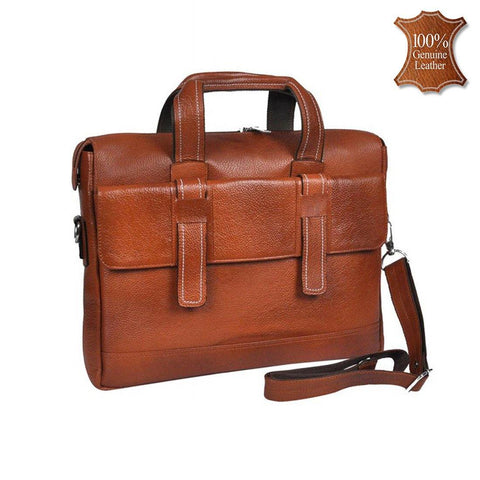 Leather World Genuine Leather 16.5 inch 7 Liter Laptop Office Bag for Men -Tan - #OB1057
