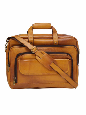 "Leather World Rust 17"" Laptop Office  Bag Designer Travel Bag"