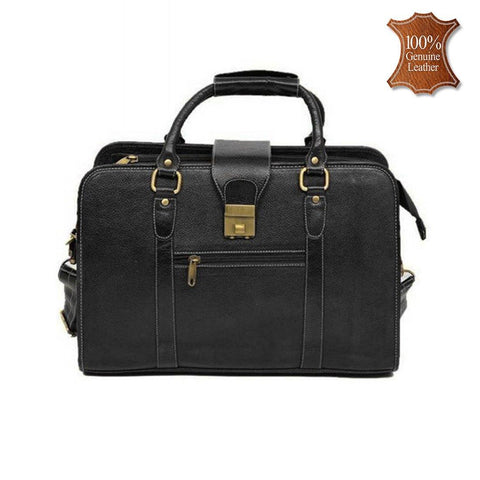 "Leather World Genuine Leather Laptop Portfolio Bag 16.5"" Black 7 Liter Tablets / Macbook #OB1061"