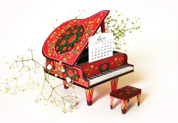 Red Miniature Grand Piano Calendar 2020 & 2021 - DIY Paper Craft Kit