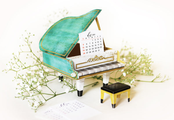 Turquoise Mini Grand Piano Calendar 2021 & 2022 - DIY Paper Craft Kit