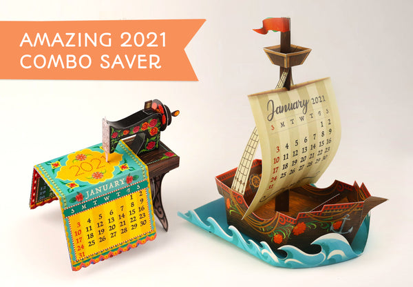 Amazing 2021 Combo Saver: Mini Sewing Machine and Ship Desk Calendars - set of 2 DIY Paper Craft Kits