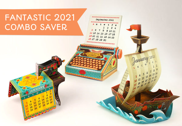 Fantastic 2021 Combo Saver: Mini Sewing Machine, Typewriter and Ship Desk Calendars - set of 3 DIY Paper Craft Kits