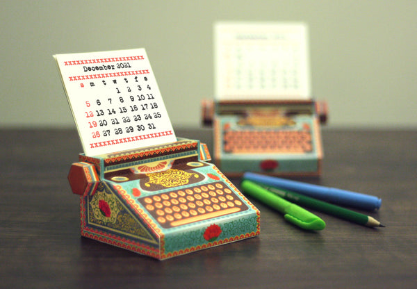 Colourful Typewriter Desk Calendar 2020 & 2021 - DIY Paper Craft Kit