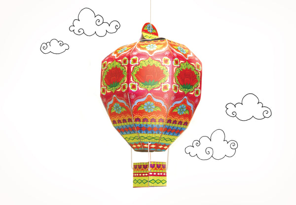 Mini Hot Air Balloon: Pink Design  - DIY Paper Craft Kit