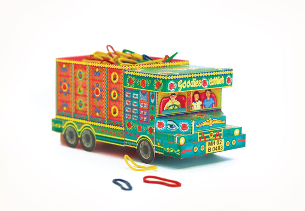'Goodies Carrier' Truck container: Green n Pink design - DIY Paper Craft Kit