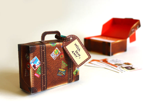 Mini Travel Suitcase Box: Brown Leather Design - DIY Paper Craft Kit