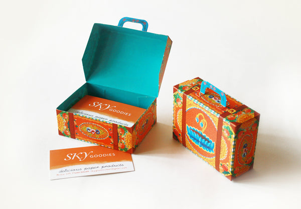 Colourful Mini Suitcase Box: Orange Lotus design - DIY Paper Craft Kit