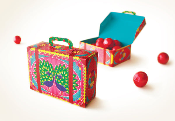 Colourful Mini Suitcase Box: Pink Peacock design - DIY Paper Craft Kit