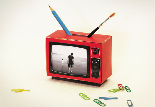 TV Photo Frame & Pen Holder (Red) - DIY Paper Craft Kit
