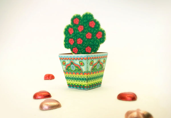 Mini Flower Pot box: Blue design - DIY Paper Craft Kit