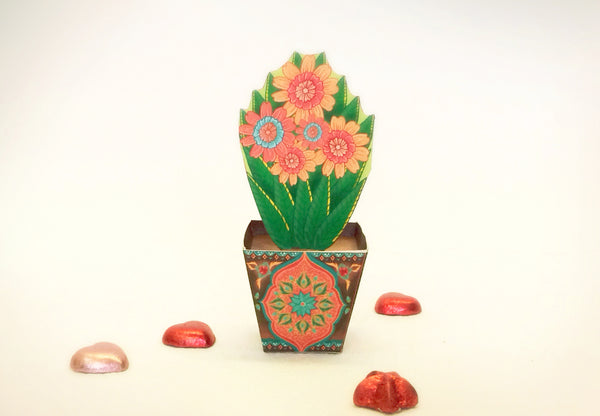 Mini Flower Pot box: Brown design - DIY Paper Craft Kit