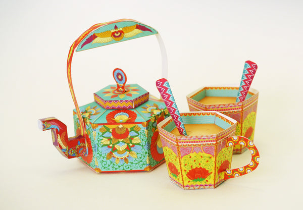 Masala Chai Kettle and Cups: Set of 3 Boxes - DIY Paper Craft Kit